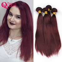 Wholesale Brazilian Vrigin Hair - 99J Burgundy Color Brazilian Human Straight Hair Weave 3 Bundles Ombre Hair Extension Dreaming Queen Vrigin Hair Free Shipping