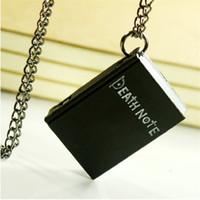ingrosso nota di morte nera-Fashion Death Note Pocket Watch nero bronzo quaderno quadrato collana pendente libro Orologi al quarzo per uomo donna regalo di Natale 230146