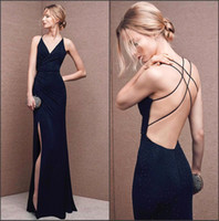 Wholesale Black Satin Backless Dress - 2016 New Sexy Spaghetti Straps Mermaid Split Evening Dresses Black Satin Floor Length Backless Prom Celebrity Runway Party Dresses BA2152