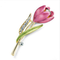 Wholesale Tibet Clothes - Elegant Tulip Flower Brooch Pin Rhinestone Crystal Costume Jewelry Clothes Accessories Jewelry Brooches For Wedding Occasion
