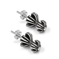 Wholesale Umbrella Mens - 1 pair Mens Antiqued Stainless Steel Umbrella shaped Stud Earrings Womens High Polished dual flower studs Earring CharMade E330