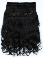 Wholesale Curly One Piece Synthetic Extensions - One Piece Clip in Hair Extensions Long Curly Clip in on Black Hair Extensions High Temperature Synthetic Hair #1B