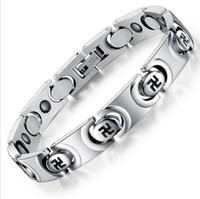 imanes curativos al por mayor-ZHF Jewelry Unisex Imán Pulsera Nueva Moda Pulsera de Acero Inoxidable Salud Curación Mujeres Hombres Joyería Bio Energía GS3268