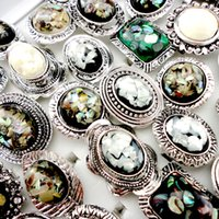 Wholesale Cameo Settings Wholesale - 10Pcs Adjustable Nature Cameo Shell Rings for Women Fashion Wholesale Jewelry Ring lots Free Shipping LR437