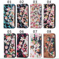 Wholesale Colorful Wallets For Women - Flower PU Leather Wallet Case For iphone 7 6s plus For Samsung S7 edge Colorful Flip Women Cover With Stand Card Slot Holster