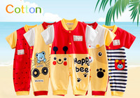 Wholesale Cheap Kids Toddler Clothes - New Toddler Short Sleeve 2016 Baby One-Piece Romper Mandarin Collar 100% Cotton Free Shipping Cheap Kid Clothing 8 Styles Wholesale Price
