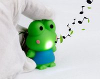 Wholesale Key Chain Frog - wholesale kids toy children keychain LED light keyrings frog flashlight sound key chain for car promotion gift free shipping 051836