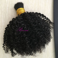 Wholesale Real Human Hair Bulk - Peruvian Unprocessed hair Afro Kinky Curly 100% Real Human hair Bulk Can Be Dyed And Bleached Natural Black Color