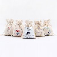 Wholesale milk candy - Canvas Drawstring Bag Candy Storage Bags Many Styles Portable Christmas Theme Bundle Pocket 3 68xx C R