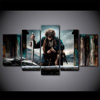 Wholesale Lord Rings Print - 5 Pcs Set Framed HD Printed Lord of the Rings bilbo-baggins Picture Wall Art Canvas Print Poster Canvas Oil Painting Cuadros