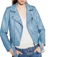 Wholesale Ladies Sexy Leather Jacket - Women Short Jacket Candy Color Faux PU Leather Zipper Pockets Sexy Punk Black Coat Ladies Casual Elegant Outwear Tops Winter Jackets