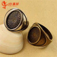 Wholesale Basis Rings - A2713 18MM Fit 14*10MM Antique Bronze Retro ring accessories manufacturers, Tibetan silver ring settings, bezel ring blank bases tray