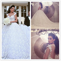 Wholesale Dresses Dentelle - Said Mhamad Robe de Mariée Dentelle White Wedding Dresses Lace Sweetheart Cap Sleeve Backless Wedding Dress Chapel Train Women Brautkleider