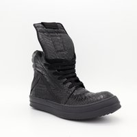 Wholesale Trend Women Winter Boots - 2018 High-top Tongue inverted triangle big black snake pattern main fashion trend for men and women couple boots Dark TPU soles milk boot
