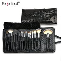 Wholesale brush sets leather for sale - Group buy Rosalind Fashion Makeup Brushes Set Kit Black Diamond Pattern Patent Leather Case Bag Beauty