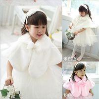 Wholesale Korean White Short Wedding Dress - Nice Autumn and Winter Girls Faux Wool Coat Kids Korean Girl Wedding Dress Short White Pink Cape Jacket Flowers Cloak Coat Kids Poncho