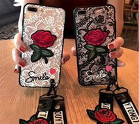 Wholesale Lanyard Lace - For Iphone X Lace Embroidery Rose Case Hard PC Back Cover Emboss Flower TPU Phone Case With Long Strap Lanyard for Iphone 6 6plus 7 8 8plus