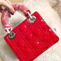 Wholesale red patent bags - women famous brand lady bag quited lattice handbags patent leather tote bags chain shoulder bags ladies luxury crossbody bag high quality