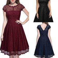 lacivert diz boyu balo elbisesi toptan satış-Kadın Kısa Kollu Dantel Bir Çizgi Mezuniyet Elbiseleri Kısa Diz Boyu Parti Balo Nedime Kokteyl Elbiseleri bordo Siyah lacivert