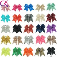 Wholesale large bows for hair - 7 inches Solid Ribbon Cheer Bow For Girls Kids Boutique Large Cheerleading Hair Bow Children sequined Hair Accessories