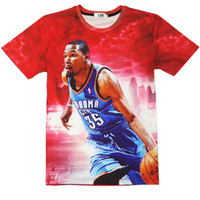 Wholesale Basketball Dribbling - Player dribble red T shirt Kevin Durant short sleeve gown Basketball leisure tees Street printing clothing Unisex cotton Tshirt