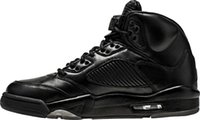 Wholesale Cheap Flights Air - cheap Air Retro 5 Premium Black Basketball Shoes Mens Air Retro 5 PRM Triple Black Air Retro 5 Flight Suit Sneakers