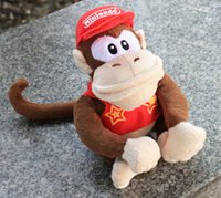 Wholesale Diddy Plush - Wholesale-10PCS Lot super mario 20cm hanuman dolls with red hat diddy kong monkey plush games gifts