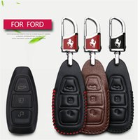 Wholesale Car Key Cover Ford Focus - 2017 New Genuine Leather Car Smart Key Case Cover Bag For Ford Fiesta Focus 2 Kuga Eco sport Mondeo 4 Car Styling Key Case Cover