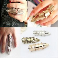 Wholesale Armor Finger Joint Ring - New Fashion Unisex Retro Vintage Gothic Double Full Finger Joint Armor Knuckle Metal Rings Men Rock Punk Party Jewelry