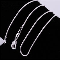Wholesale High Ropes - Big Promotions !High quality 1MM 18inches 925 sterling silver snake chain necklace fashion jewelry free shipping