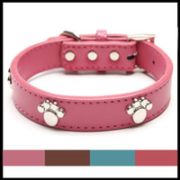 Wholesale Dog Collar Leather Paw - Real Leather Paw Cut Puppy Collars Adjustable Necklace Studs Pet Cat Dog Collars M L XL for Medium and Large Pet Free shipping