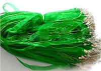 Wholesale Green Silk Cord Necklace - AAA+ 200pcs lot 18'' green silk ribbon voile necklace cords #0034