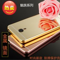 Wholesale Note2 Bumper - Luxury Aluminum Metal Bumper Frame Case with Electroplated Mirror Back Cover Skin For meizu note meizu note2 meizu mx5 meizu metal meizupro5