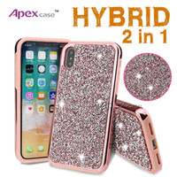 Wholesale Note Back Covers - Premium bling 2 in 1 Luxury diamond rhinestone glitter back cover phone case For iPhone X 8 7 5 6 6s plus Samsung s8 note 8 cases