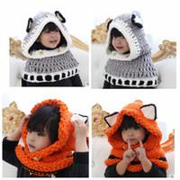Wholesale Crochet Collar Scarves - Baby Kids Fox Hat Scarf Children Neck Warmer Wrap Beanie Crochet Collar Cartoon Windproof Fox Ear Hats Scarf KKA3452
