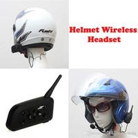Wholesale Handsfree Motorcycle Headset - New Arrival! BT Wireless Bluetooth V3.0 Motorcycle Helmet Interphone Intercom Headset V6 1200M 6 Riders Handsfree Headphone