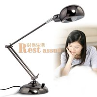Wholesale Fold Up Desks - Led folding long arm metal table lamp study and work student office reading desk lamp dimmer function