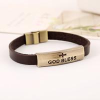 gesegnete armbänder großhandel-Gott segnen Zeichen Armband Leder Jesus Armbänder Charms Armbänder Armbänder Leder Kreuz Verschluss Legierung Metall DHL