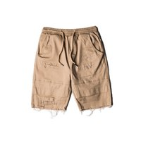 Wholesale Men S Jeans Bermuda - Wholesale-Top quality men hip hop jeans shorts bigbang justin bieber ripped jeans men casual sport jogger shorts denim short pants bermuda