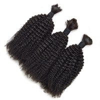 Wholesale bulks hair for cheap online - Afro Curly Human Hair Bulks No Weft Cheap Brazilian Kinky Curly Hair Extensions in Bulk for Braiding