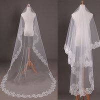 Wholesale Embroidery Edge White Cathedral Veil - 2016 Wedding Veils Vestidos Bridal Marrige White and Ivory Lace Embroidery 3 Meters Long Veil Wedding Accessories Wholesale