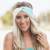 Wholesale Sports Hair Bandanas - New Hot Women Cross Headbands Hairband Two Tone Knitted Sport Bandanas Fashion Lovely Hair Accessories Free Shipping