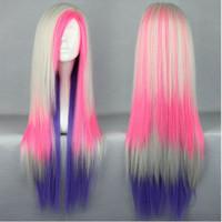 Wholesale Long Rainbow Wigs - Charming 80cm Long Rainbow Colorful Lolita Halloween Synthetic Heat Resitant Lolita Women Party Costume Cosplay Wig
