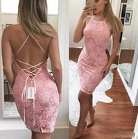 Wholesale Halter Sweetheart Formal Cocktail Dress - Blush Pink Sexy Prom Dresses Full Lace Halter Backless Criss-cross Cheap Cocktail Dress Sleeveless 2018 Formal Party Gowns
