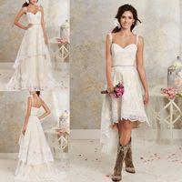 Wholesale High Low Detachable Dress - Lace Country Wedding Dresses With Detachable Train High Low Short Bridal Dress Gown Floor length Multi Layers Garden Bohemian Wedding Gowns