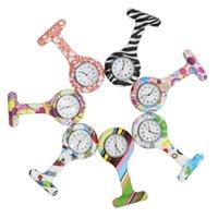 clips de cebra al por mayor-Relojes de bolsillo Cebra de silicona Pin clip de acero inoxidable Enfermera Fob Watch Broche de cuarzo colgante Caliente flores geométricas Doctor Paramédico
