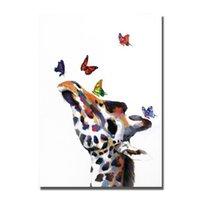 ingrosso la farfalla ha incorniciato la pittura a olio-Dipinto ad olio su tela Living Room Wall Pictures Dipinto a mano Decor Immagini Cervo di alta qualità con farfalla Pittura ad olio 1 Pezzi senza cornice