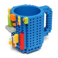 Wholesale Plastic Building Blocks China - Wholesale- Plastic Milk Mugs DIY Drinkware Building Blocks Block Puzzle Mug Build-On Brick Creative Mug Type Coffee 350ML 4 Colors