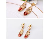 Wholesale Earrings Plume - Fashion Colorful Diamante Plume Earring Woman Stud Banquet Dangle Lady Tassel Woman Earrings Charms Jewelry Accessoryies Collection #741