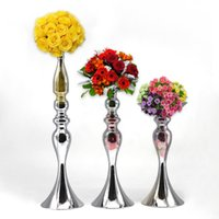 Wholesale Cheap Metal Stands - Wedding Decorative 46cm Cheap Flower Stand sliver Metal Centerpiece For New Sale